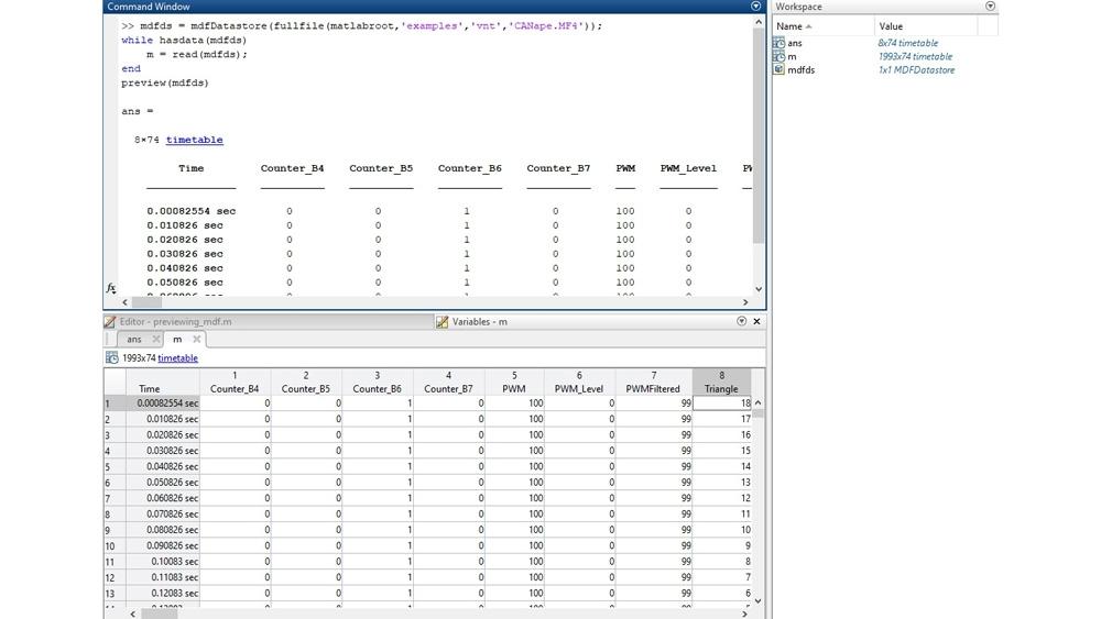 Code d'exemple pour prévisualiser un fichier MDF dans l'interface en ligne de commande, puis inspecter les données dans l'éditeur de variables.