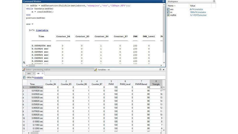 Interface MATLAB pour inspecter des fichiers MDF avec la fonction de prévisualisation et l'éditeur de variables.