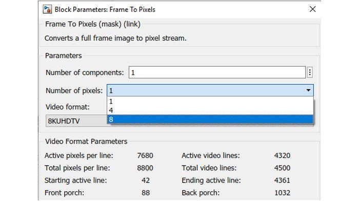 Spécification du traitement de jusqu'à 8 pixels en parallèle.