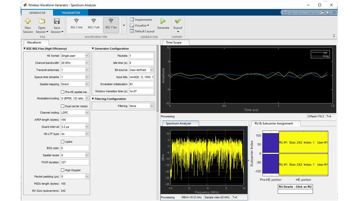 Génération de formes d'ondes 802.11ax avec l'application WirelessWaveformGenerator.