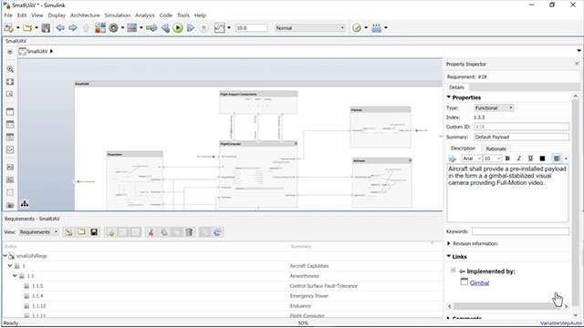 Liez, suivez et visualisez les exigences concernant des éléments architecturaux dans System Composer.
