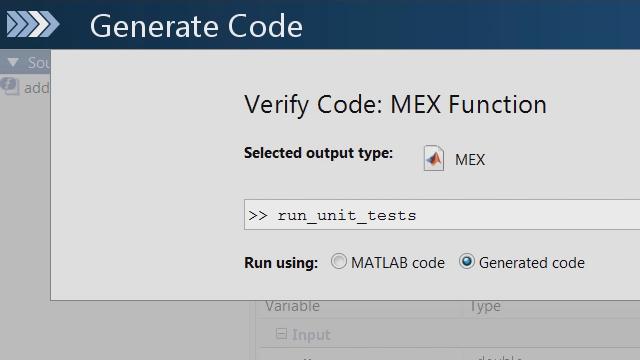 Utilisez la structure de test unitaire MATLAB pour vérifier si les modifications apportées à votre code MATLAB entraînent l'échec des tests unitaires dans le codeC généré par MATLABCoder.