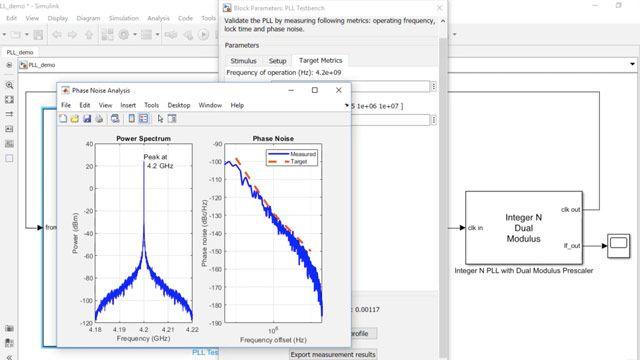 Utilisez Mixed-Signal Blockset pour modéliser une PLL à division par entierN standard destinée à une utilisation commerciale avec un générateur d'échelles à deuxmodules fonctionnant à environ 4GHz. Vérifiez les performances de la PLL, y compris le bruit de phase, le temps d'asservissement et la fréquence d'opération.
