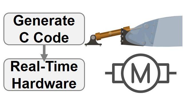 Convertissez un actionneur mécatronique en code C et simulez dans une configuration hardware-in-the-loop. Les paramètres Simscape sont réglés en fonction de la cible en temps réel.