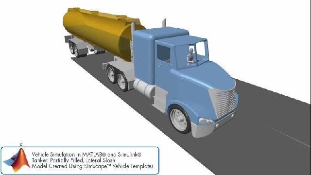 Simulation de véhicule avec ballottement latéral dans une remorque de camion-citerne.