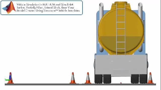 Simulation de véhicule avec ballottement latéral dans une remorque de camion-citerne vue depuis l'arrière.