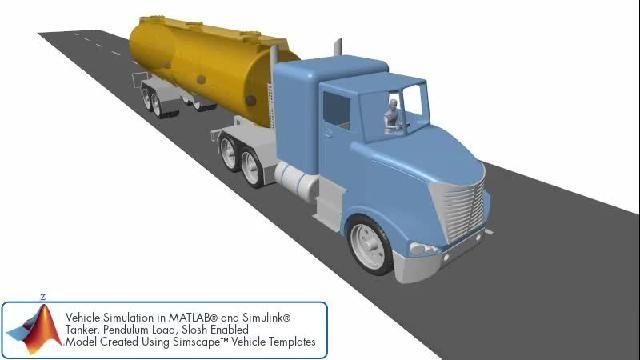 Simulation de véhicule avec un modèle de ballottement pendulaire dans une remorque de camion-citerne.