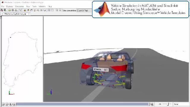 Découvrez une animation illustrant une simulation de piste de course avec Simscape.