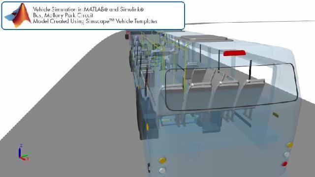 Découvrez une animation illustrant une simulation de piste de course de bus avec Simscape.