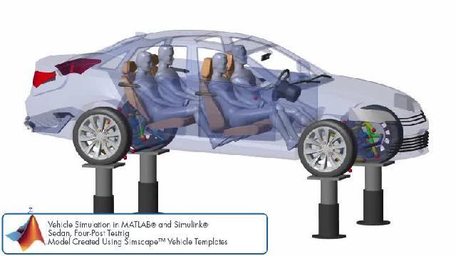 Découvrez une animation illustrant une simulation du design de suspension avec Simscape.