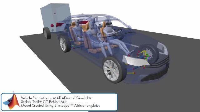 Découvrez une animation illustrant une simulation des fonctions de contrôle du châssis avec Simscape.