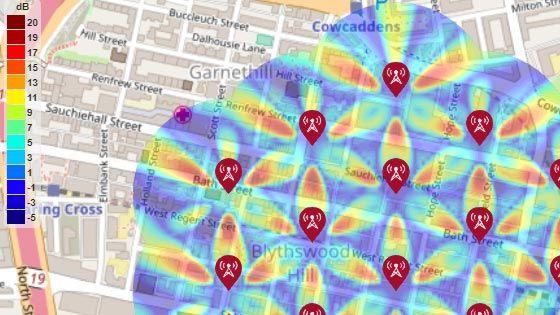 Cartographie du SINR pour un environnement de test 5G à macro-cellules en milieu urbain
