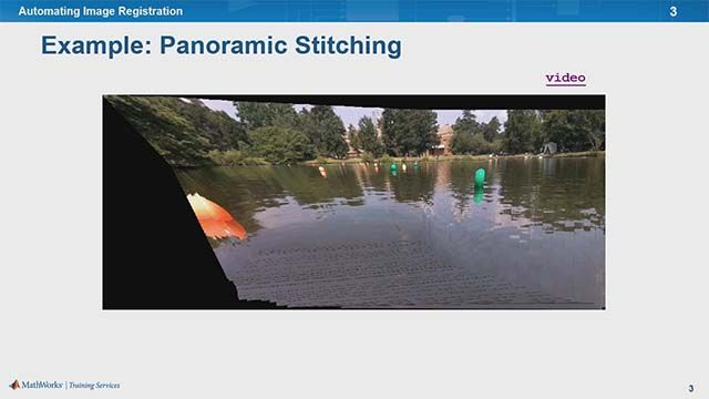Learn to estimate geometric transforms, apply the transform, and specify image coordinates using panoramic stitching as an example.