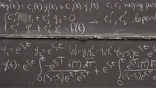 Combine null solutions <em>y<sub>1</sub></em> and <em>y<sub>2</sub></em> with coefficients <em>c<sub>1</sub>(t)</em> and <em>c<sub>2</sub>(t)</em> to find a particular solution for any <em>f(t).</em>