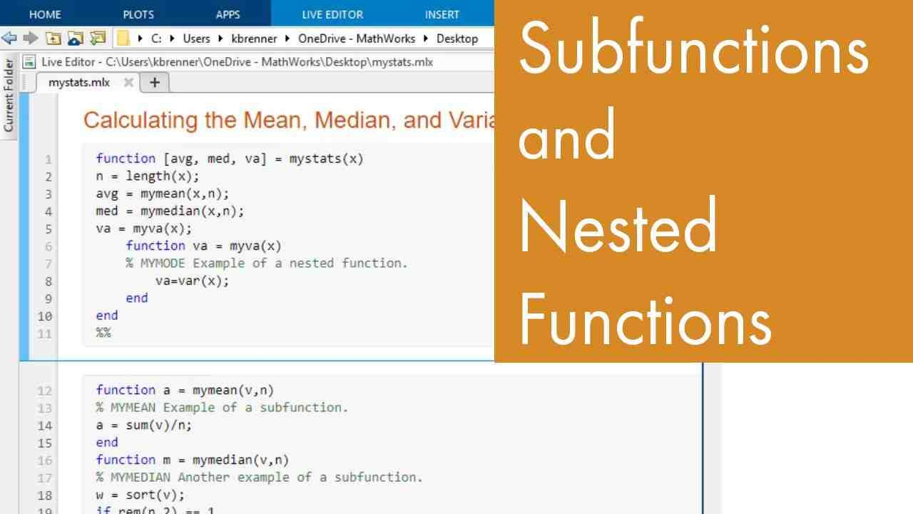 Learn how to use subfunctions and nested functions in MATLAB.