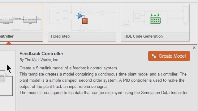 Build Simulink models using design patterns that serve as starting points to solve common problems