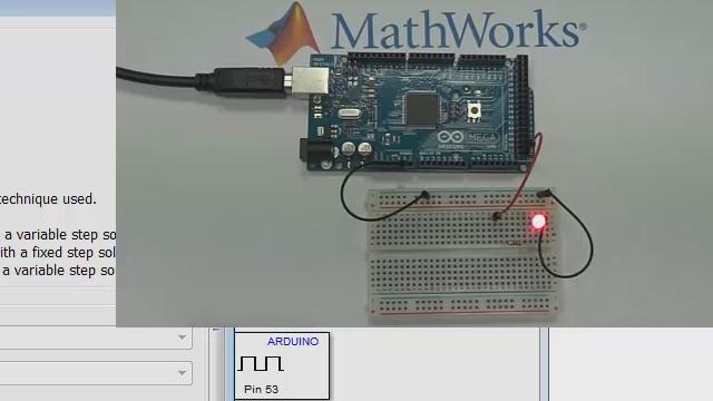 Cette vidéo montre comment construire un modèle Simulink et l'exécuter sur une carte Arduino.