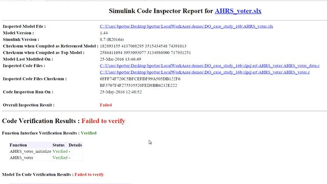 Use Embedded Coder and Simulink Code Inspector to generate code from models and verify that translation in compliance with DO-178C and DO-331.